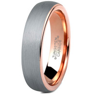 5mm - Unisex, Women's or Men's Tungsten Wedding Band Ring. Comfort Fit Gray and Rose Gold Round Domed Brushed. Unisex Wedding Bands