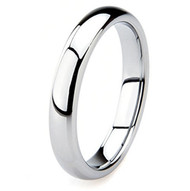 4mm - Women's Tungsten Wedding Band. Silver Tone Domed Polished Comfort Fit Ring
