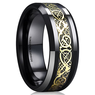 8mm - Unisex or Men's Tungsten Wedding Band. Celtic Wedding Band Black with Gold Resin Inlay. Celtic Knot Tungsten Carbide Ring