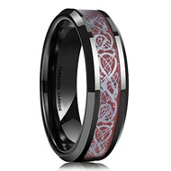 mens tungsten wedding bands red and black, mens tungsten ring black and red celtic