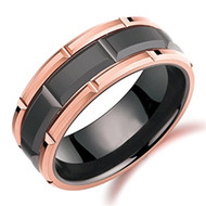 8mm - Unisex or Men's Tungsten Wedding Band. Duo Tone Black and Rose Gold Tone Brick Pattern Tungsten Wedding Band Ring