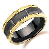 8mm - Unisex or Men's Tungsten Wedding Band. Duo Tone Black and Yellow Gold Tone Brick Pattern Tungsten Wedding Ring