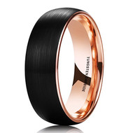 mens tungsten wedding bands black and rose gold, mens tungsten ring black and gold