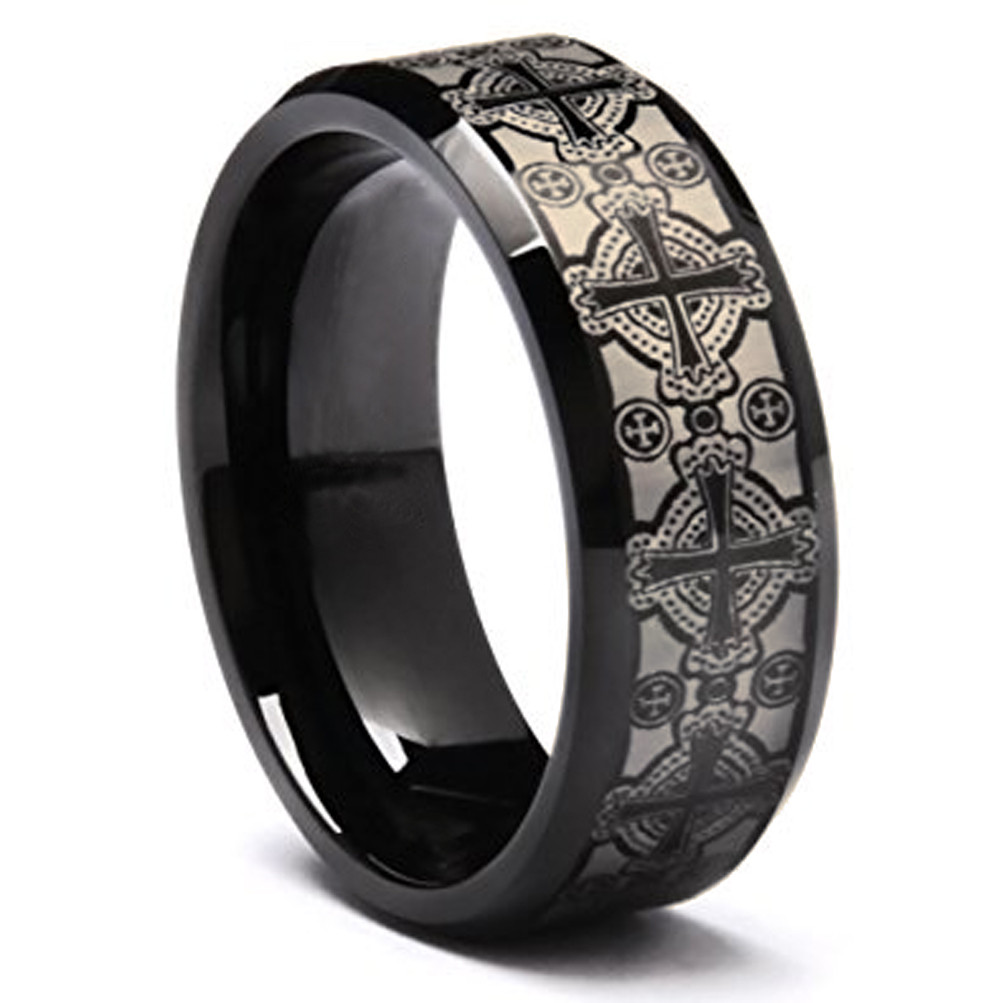 8mm Unisex Or Men S Tungsten Wedding Band Black With Laser Etched