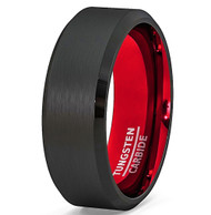 mens tungsten wedding bands red, mens tungsten ring black and red