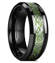 mens tungsten wedding bands green, mens tungsten ring black and green celtic