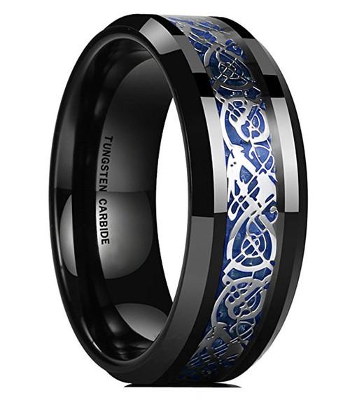 Unisex Or Men's Tungsten Wedding Band. Celtic Mens