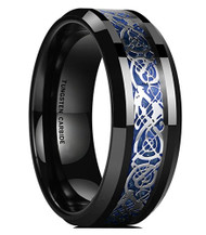 mens tungsten wedding bands blue celtic, mens tungsten ring blue and black silver celtic