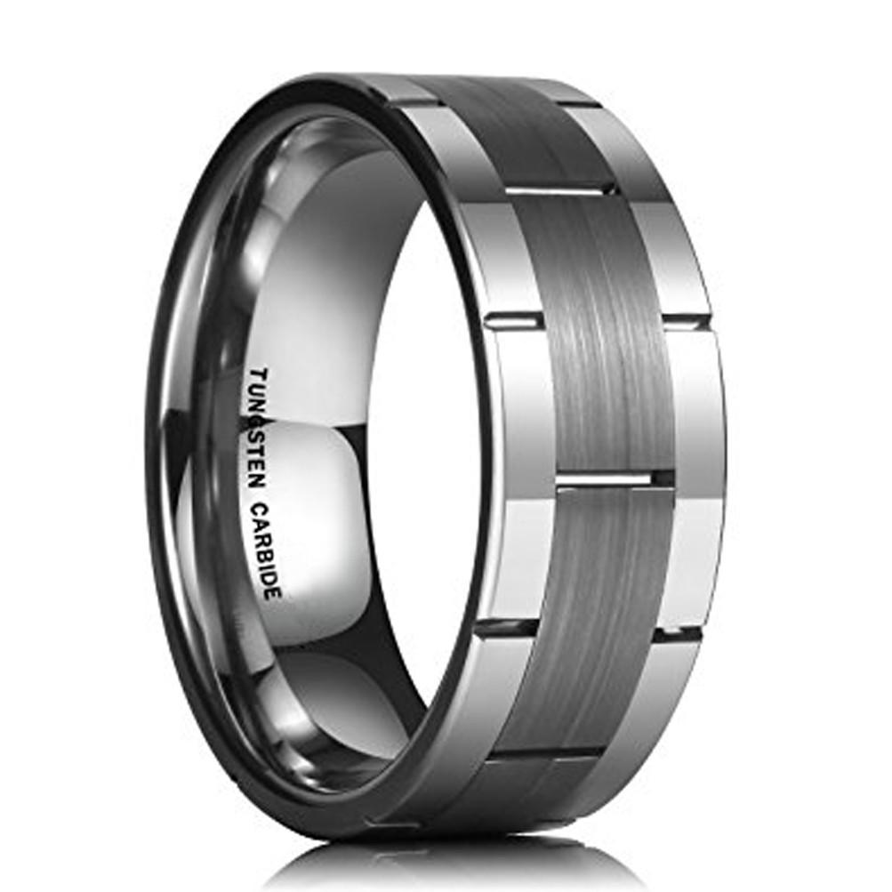 8mm wedding ring mens steel wedding band Black steel wedding band brushed black wedding ring steel wedding ring 2 tone wedding band