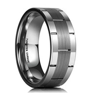 8mm - Unisex or Men's Tungsten Wedding Band. Silver Tone Line Pattern Tungsten Wedding Band Ring Comfort Fit