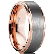 8mm - Unisex or Men's Tungsten Wedding Band. Silver and Rose Gold Duo Tone Top. Comfort Fit Wedding Rings