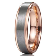 6mm - Unisex, Men's or Women's Tungsten Wedding Band. Silver and Rose Gold Duo Tone Top. Comfort Fit Tungsten Carbide Ring