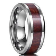 8mm - Unisex or Men's Tungsten Wedding Bands. Silver Tone with Dark Wood Inlay - High Polish and Beveled Edges