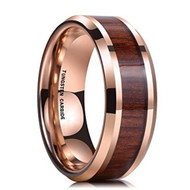 8mm - Unisex or Men's Tungsten Wedding Bands. Wood Inlay and Rose Gold Tone. Tungsten Ring with High Polish Dark Wood Inlay. Beveled Edges