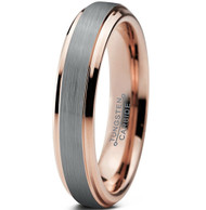 4mm - Women's Tungsten Wedding Band. Silver and Rose Gold Duo Tone Top. Comfort Fit Wedding Rings