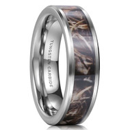 8mm - Unisex or Men's Tungsten Wedding Band. Silver Tone with Brown and Tan Camouflage Carbon Fiber Inlay