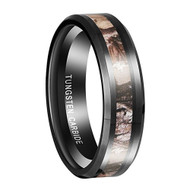 6mm - Unisex, Women's Tungsten Wedding Band. Black band with Camouflage Light Tan Inlay Tungsten Carbide Ring