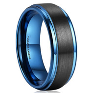 8mm - Unisex or Men's Tungsten Wedding Bands. Black and Blue Tungsten Ring. Inside High Polish. Comfort Fit