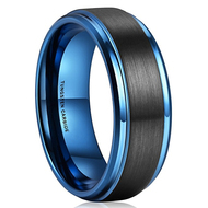 mens tungsten wedding bands blue, mens tungsten ring blue and  black, black and blue tungsten wedding ring band men