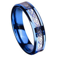 6mm - Unisex or Women's Tungsten Wedding Band. Blue and Silver Celtic Wedding Band with Resin Inlay. Celtic Knot Tungsten Carbide Ring Comfort Fit