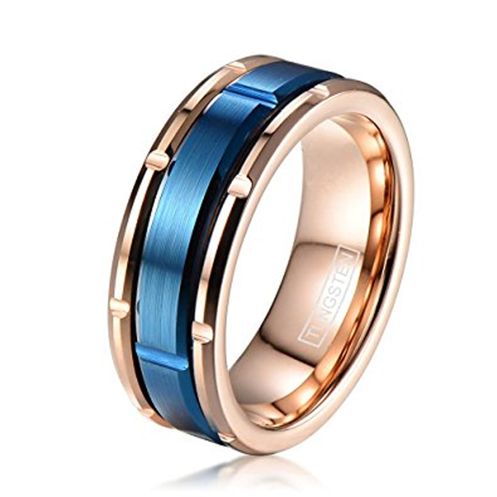 8mm Unisex Or Men S Tungsten Wedding Bands Rose Gold With Outer