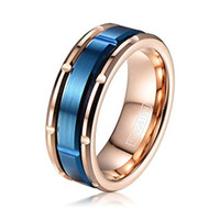 mens tungsten wedding bands blue and rose gold, mens tungsten ring rose gold and blue