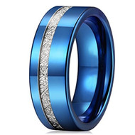 8mm - Unisex or Men's Tungsten Wedding Band. Blue Tone Inspired Meteorite Wedding Band. Flat Edged Tungsten Carbide Ring Comfort Fit