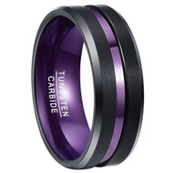 8mm - Unisex or Men's Wedding Tungsten Band. Black Matte Finish Tungsten Carbide Ring with Double Purple Tone. Beveled Edge