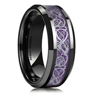 8mm - Unisex or Men's Tungsten Wedding Band. Mens Celtic Wedding Bands Black Resin Inlay Purple Celtic Knot Tungsten Carbide Ring