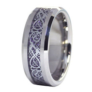 mens tungsten wedding bands purple, mens tungsten ring silver and purple celtic