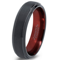 6mm - Unisex or Women's Tungsten Wedding Band. Black with Red Inside Duo Tone Matte Finish Top Tungsten Carbide Ring with Beveled Edges.