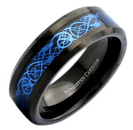 mens tungsten wedding bands blue, mens tungsten ring black and blue celtic