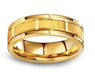 8mm - Unisex or Men's Tungsten Wedding Band. Yellow Gold Tone Brick Pattern Tungsten Wedding Band Ring Comfort Fit