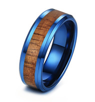 8mm - Unisex or Men's Tungsten Wedding Bands. Blue Tone with Dark Wood Inlay. High Polish Tungsten Ring Beveled Edges