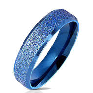 5mm - Women's Steel Wedding Band. Blue Sand Blasted Glittery Finish Steel Ring with Flat Edge