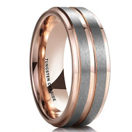mens tungsten wedding bands rose gold and silver, mens tungsten ring gray silver rose gold