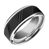 8mm - Unisex or Men's Tungsten Wedding Bands. Duo Tone Silver and Black Diagonal Tread Top Men's Tungsten Carbide Wedding Band Ring