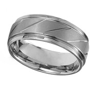 9mm - Unisex or Men's Tungsten Wedding Bands. Silver Tone Diagonal Tread Top Men's Tungsten Carbide Ring Wedding Band