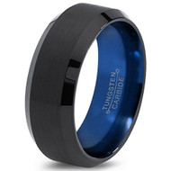 8mm - Unisex or Men's Tungsten Wedding Band. Blue Polished Inside and Black Matte Finish Tungsten Carbide Ring with Beveled Edge
