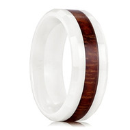 8mm - Unisex or Men's Ceramic Wedding Bands. White Ring with High Polish Dark Wood Inlay and Beveled Edges