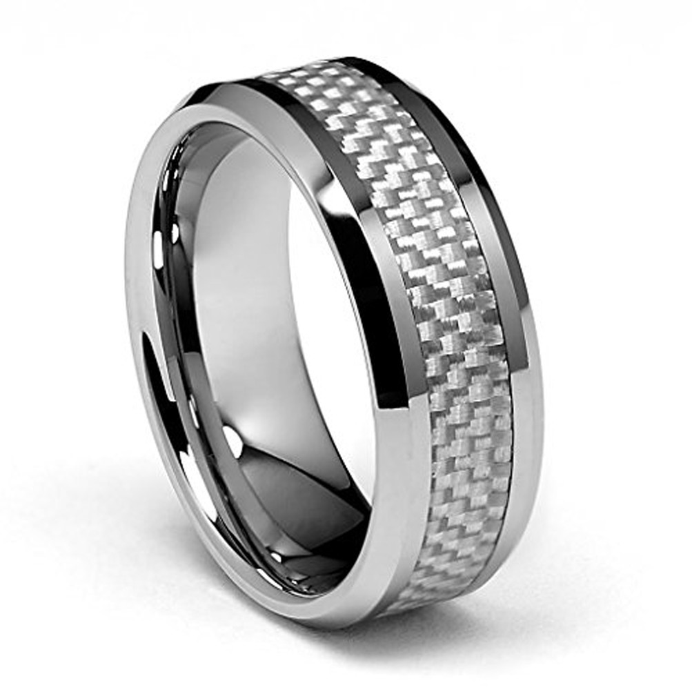 Tungsten Jeweler 8mm White Ceramic Domed with Black Carbon Fiber Inlay Wedding Band Ring for Men Or Ladies