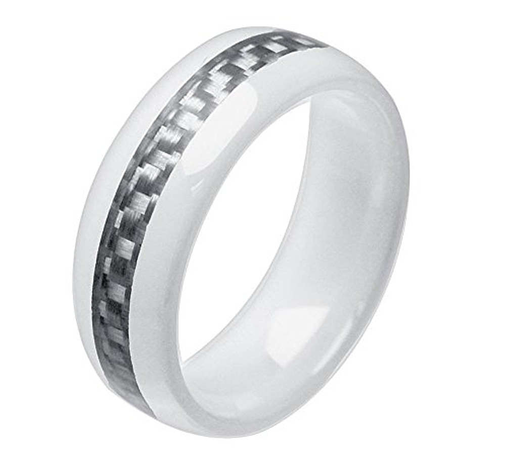 8mm Unisex Or Men S Ceramic Wedding Band White Ring With Gray