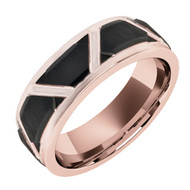 8mm - Unisex or Men's Tungsten Wedding Band. Duo Tone Rose Gold Band and Black Tone. Staggered Pattern Tungsten Wedding Band Ring Comfort Fit