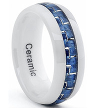 8mm - Unisex or Men's Ceramic Wedding Band. White Ring  with Blue Carbon Fiber Inlay