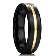 6mm - Unisex or Women's Tungsten Wedding Band. Black and 18K Yellow Gold Grooved Matte Finish Tungsten Carbide Ring with Beveled Edges