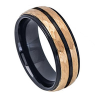 8mm - Unisex or Men's Tungsten Wedding Bands. Duo Tone Black and Rose Gold Hammered Finish Men's Tungsten Carbide Ring Wedding Band