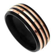 8mm - Unisex or Men's Titanium Wedding Bands. Triple Groove Polish Finish Men's Titanium Ring. Duo Tone Black and Rose Gold Wedding Band