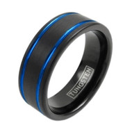 8mm - Unisex or Men's Tungsten Wedding Bands. Duo Tone Black and Blue Double Groove Finish Tungsten Carbide Ring Wedding Band