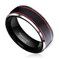 mens tungsten wedding bands red and black, mens tungsten ring black and red