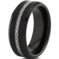 8mm - Unisex or Men's Tungsten Wedding Band. Inspired Meteorite Black Tungsten Carbide Ring. Thin Stripe Meteorite Wedding Band